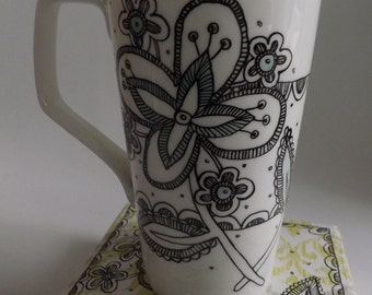 Eliza Latte mug -hand painted original design tall mug-with hand made gift box- Ooak, gift wrapped, birthday gift, coffee lover gift,