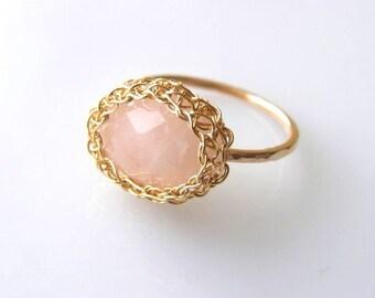 Rose Quartz Ring, Stacking Ring, Pink Gemstone Ring, Gold Stack Ring,14k gold filled Ring, Pale Pink Ring, Rose Quartz Jewelry