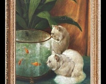 Fish Bowl Cats Miniature Dollhouse Art Picture 1549