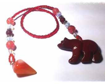 Pendulum of Agate and Carved Red Jasper Bear - FREE SHIPPING WORLDWIDE