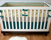 Organic Crib Bedding, Cribset, Custom Baby Bedding, Elephants Chevron Teal Orange Green Nursery