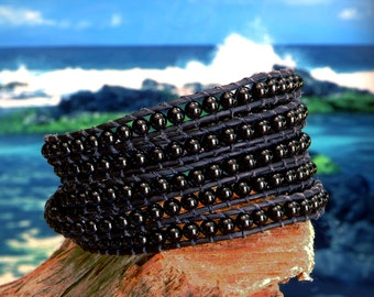 Black Agate Beaded 5X Leather Wrap Bracelet, Black Agate 4mm beads