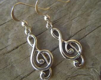 Treble clef earrings handmade in sterling silver