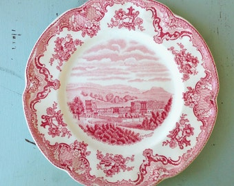 "Vintage Johnson Bros England Transferware Pink Red Old Britain Castles Medium Salad 8"" Choice of One"