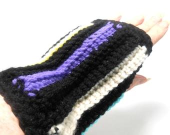 Reversible Fingerless Gloves Two Way Fingerless Gloves Crocheted Fingerless Gloves Striped Gloves