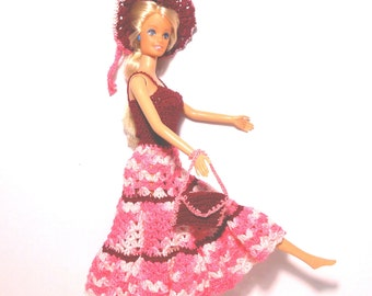 11 1/2 Inch Fashion Doll Dress, Pink and Maroon Dress, Crochet Doll Dress With Hat and Purse, Party Doll Dress, Birthday Gift