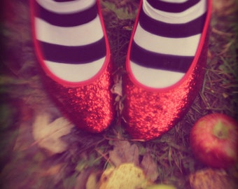 Dorothy, Wizard of Oz, Fine Art Photograph, Ruby Red Slippers, Apples, Print, Photo, Picture, Stripes, Harvest, Surreal, Movie, Nursery