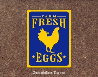Farm Fresh Eggs Sign Yellow and Blue