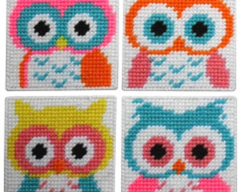 Plastic Canvas Hootiful Owls Coasters Instant Download