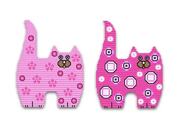 Plastic Canvas Adorable Cat Wall Hangings Set Two PDF FORMAT Instant Download