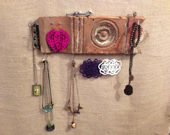 Upcycled Jewelry Organizing Display (Light Wood Architectural Medallion)