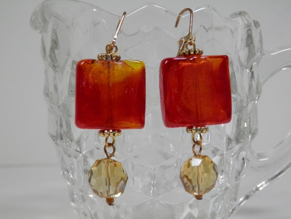 Fiery Red Orange Lampwork Dangle Earrings Honey/ Amber Color Czech Faceted Beads Gold Tone Caps Findings Leverback Ear Wire Trendy  Mom Gift