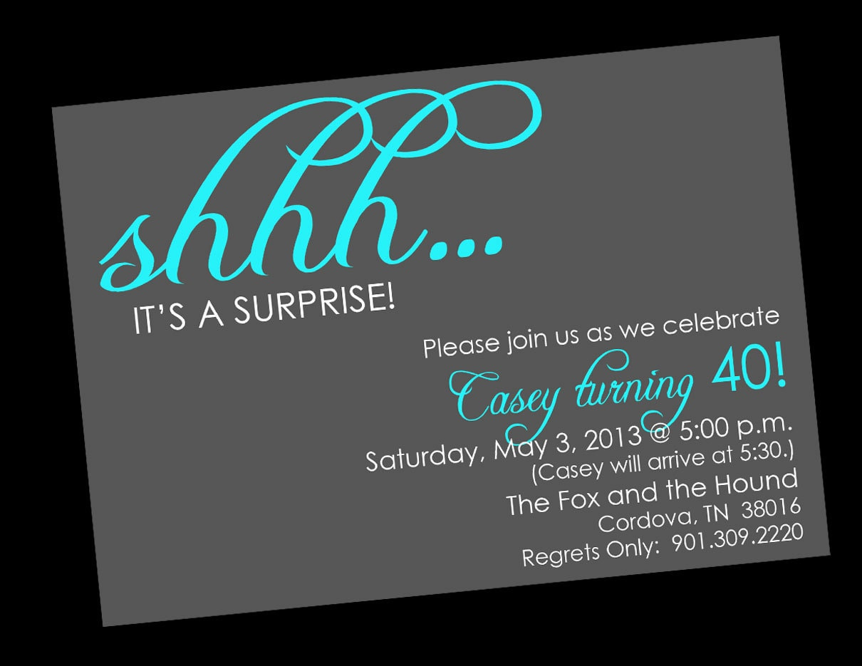 shhh surprise birthday invitations printable digital file