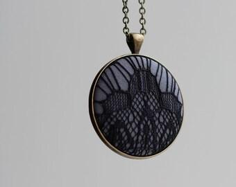Gray Black Art Deco Jewelry Black Lace Jewelry Art Deco Necklace Goth Jewelry Black Lace Necklace Dark Unique Jewelry Black Pendant