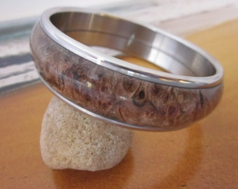 Spalted Big Leaf Maple Burl and stainless steel bangle bracelet