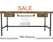 "For Jena K:60x24x30""h Pipe Desk,  2 crate CHICAGO drawers ANTIQUE finish"