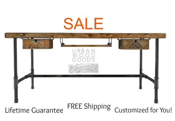 ... to Modern Wood Desk with steel legs made of reclaimed planks on Etsy