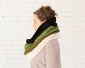WINTER SPECIAL | The Ombré Cowl | Moss | Chunky Knit Ombré Oversized Huge Textured Winter Cowl Scarf