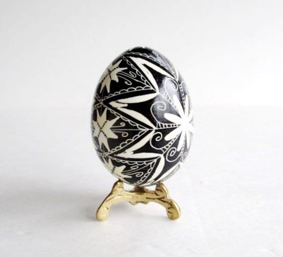Black and White Pysanka, batik egg on chicken egg shell, Ukrainian Easter egg, hand painted egg