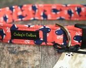 "Nautical Dog Collar ""Whales"" Custom Dog Collar"