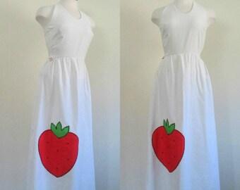 1970s Halter Maxi Dress Strawberry Applique White Cotton Pique Sundress
