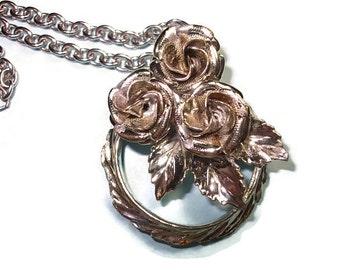 Silver Roses Flower Vintage Necklace Vintage Jewelry