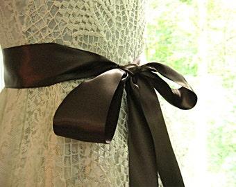Brown wedding sash, autumn bridal sash, bridesmaid sash, flower girl sash, junior bridesmaid sash, bridal belt, 2.25 inch satin