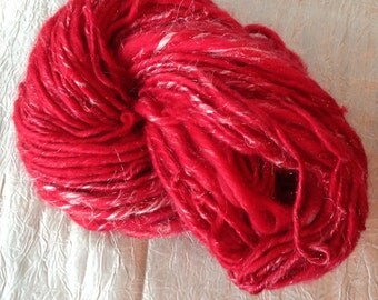 Hand Dyed, Hand Spun Merino, Bamboo and Angelina Bulky Art Yarn 3oz, 90 yards, Ruby Slippers