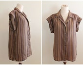 Vintage 1970s Boxy Collared Button Up Shirt