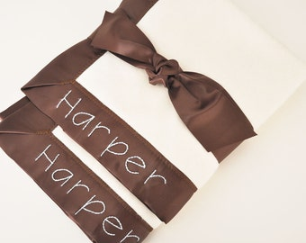 Organic Baby Blanket -- Chocolate Brown -- Free Personalization
