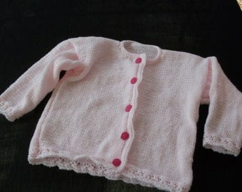 Hand knitted baby girls pastel pink cardigan