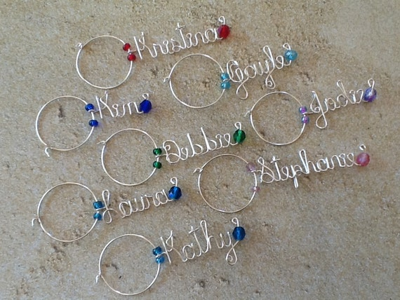Wine Glass Charm, Personalized Wine Charm, Wedding Favor, Bridesmaid ...
