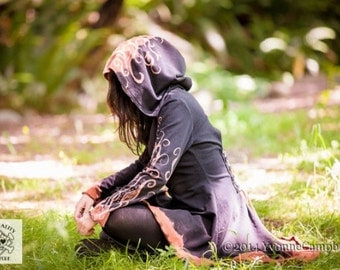OOAK corset laced hand painted pagan clothing steampunk fairy pixie hoodie
