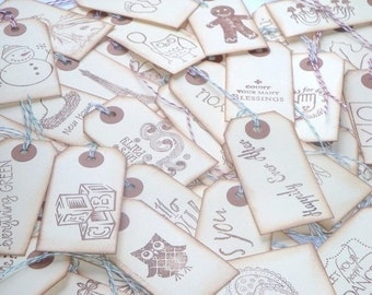 Goodie Bag Handstamped Tags 6pcs