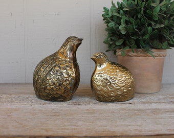 Vintage Brass Quail, Set of 2