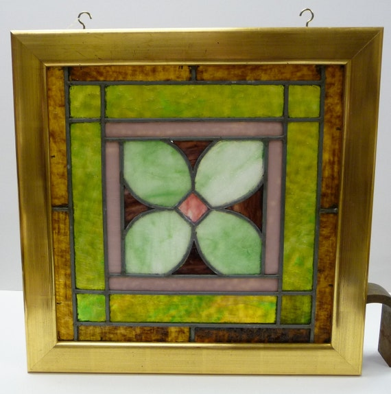 vintage stained glass window framed window by salvagerelics