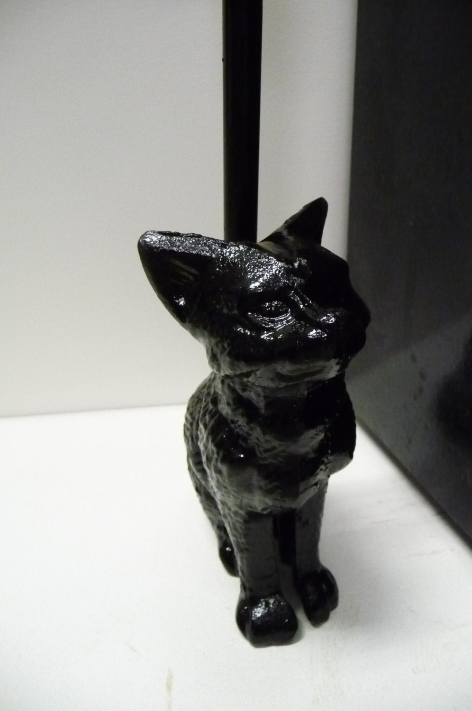 Amigurumi Black Cat Door Stopper : Cast iron CAT door stop Long Handled Porter Black Feline