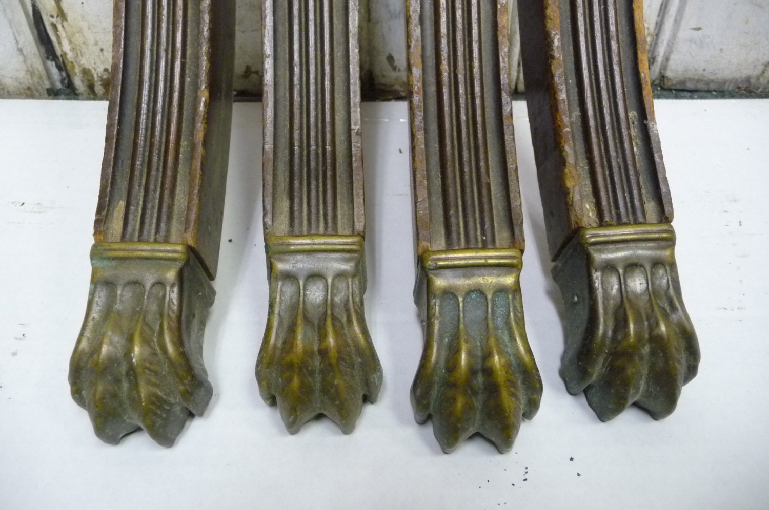 Vintage Table Legs Fluted Wood With Lion Claw Feet Paw Metal