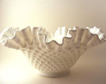 Vintage Fenton Milk Glass Hobnail Ruffle Bowl