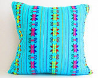 Tribal Pillows Covers, Colorful Pillow Covers, Bohemian Decor, Boho Bedding, Mexican Cushion, Square, tribal pillowcase, Christmas gift