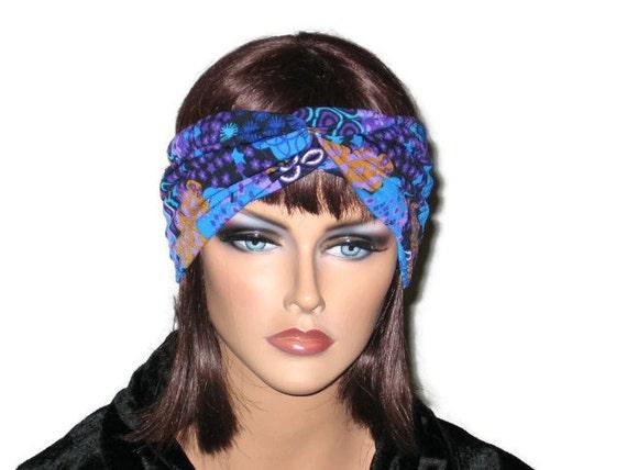 Handmade Bandeau Headband Turban -Royal Blue Multicolored Collage