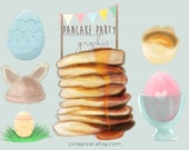 Pancake Party Clip Art Easter Decoration Watercolor Blog Graphics Banner Header Birthday Invitation Small Business Card Illustration