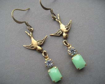 Golden Bird Earrings - Bird Jewelry - Rhinestone Earrings - Lovebird Jewelry - Mint Earrings - Mint Green Jewelry - Mint Jewelry