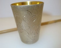 Vintage German Silver Cup Engraved wiht Ethnic Russian Ornament