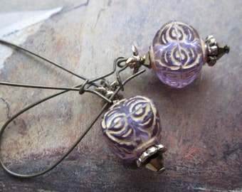 lilac and gold on bronze - the villette earrings