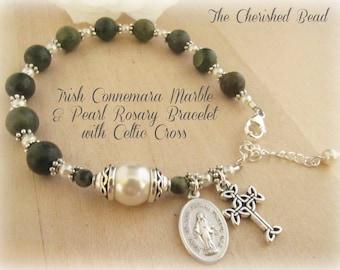 Beautiful Connemara Marble & Pearl Personalized Irish Catholic Rosary Bracelet