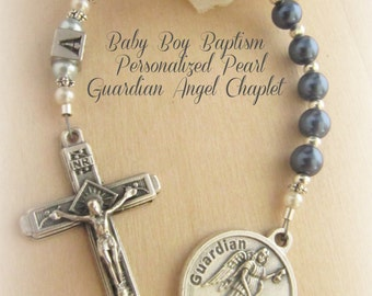 Baby Boy Personalized Guardian Angel Baptism Chaplet with Dark Blue & Light Blue Pearls