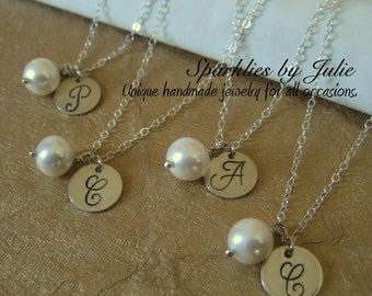 FOUR PIECE Gift Set - Initial & Birthstone Necklace - Custom Initial in Monogram or Italic Font, Gemstone Birthstone, All Sterling Silver