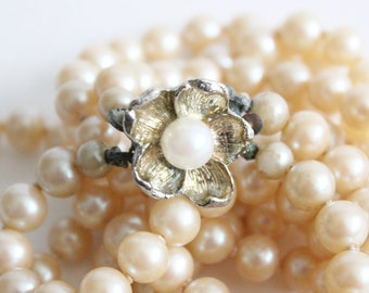 Vintage Faux Pearl Double Strand Flower Necklace - slide clasp, knotted, 1950s costume jewelry