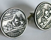 2000 Virginia State Quarter Cufflinks by Custom Coin Rings----Jewelry Cuff Links Handmade